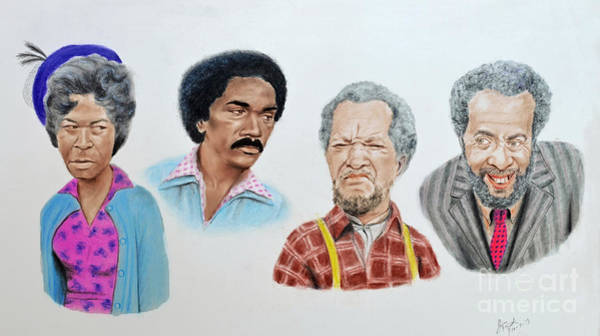 Hat Mixed Media - The Cast Of Sanford And Son  by Jim Fitzpatrick