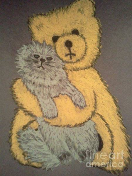 Oil Pastels Drawing - The Cat And The Teddy Bear by Neil Stuart Coffey