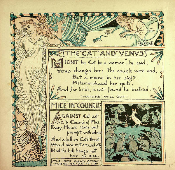 Wall Art - Drawing - The Cat And Venus Mice In Council by English School