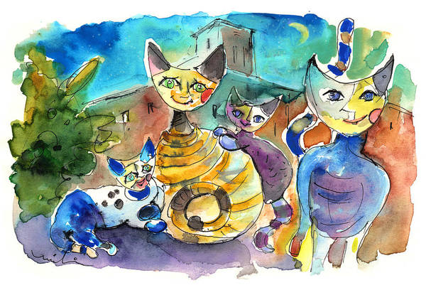 Painting - The Cat Family Of Toledo by Miki De Goodaboom