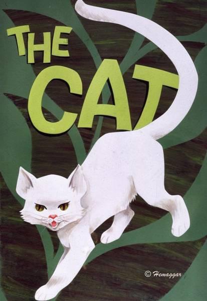 Troll Mixed Media - The White Cat by Hemu Aggarwal