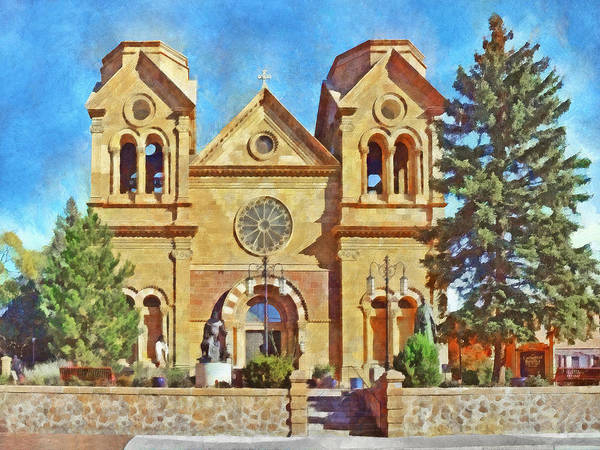 Digital Art - The Cathedral Basilica Of St Francis Of Assisi In Sante Fe  by Digital Photographic Arts