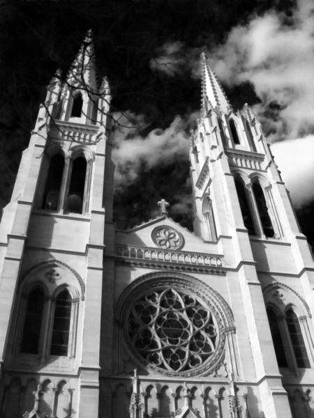 Photograph - The Cathedral Basilica Of The Immaculate Conception 1 Bw by Angelina Tamez