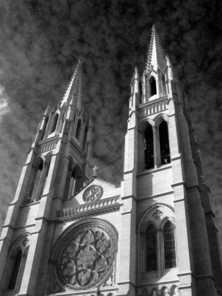 Photograph - The Cathedral Basilica Of The Immaculate Conception 4 Bw by Angelina Tamez