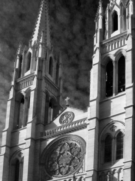 Photograph - The Cathedral Basilica Of The Immaculate Conception 5 Bw by Angelina Tamez