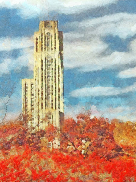Digital Art - The Cathedral Of Learning At The University Of Pittsburgh by Digital Photographic Arts