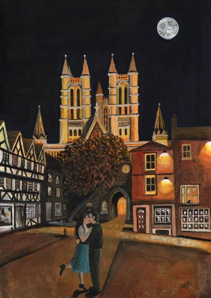Chris Cox Painting - The Cathedral The Kiss And The Harvest Moon by Chris Cox