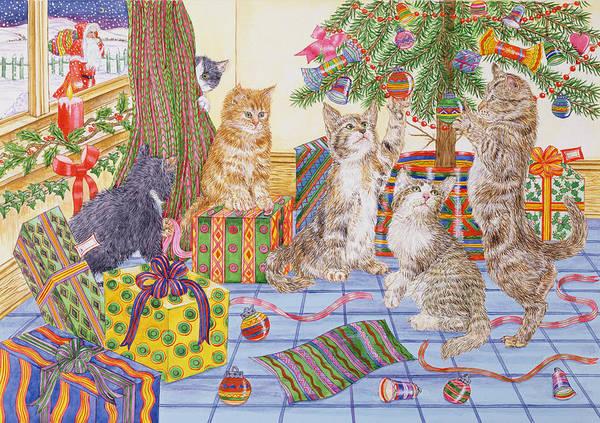 St Nicholas Painting - The Cats Christmas  by Catherine Bradbury