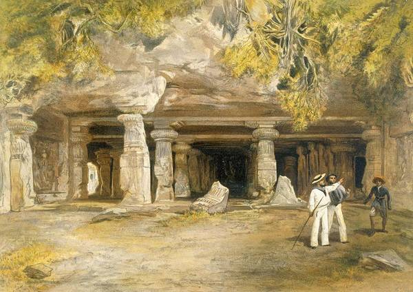 Columns Drawing - The Cave Of Elephanta, From India by William 'Crimea' Simpson