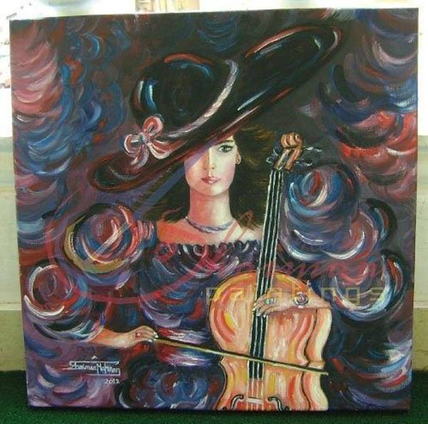 Cellist Painting - The Cellist Player by Shaimaa Mahran