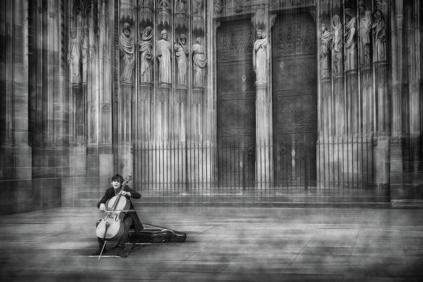 Cathedral Photograph - The Cellist by Roswitha Schleicher-schwarz