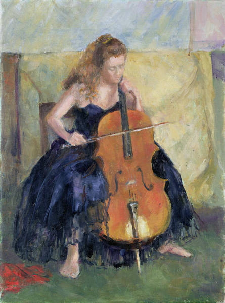 Cello Wall Art - Painting - The Cello Player, 1995 by Karen Armitage