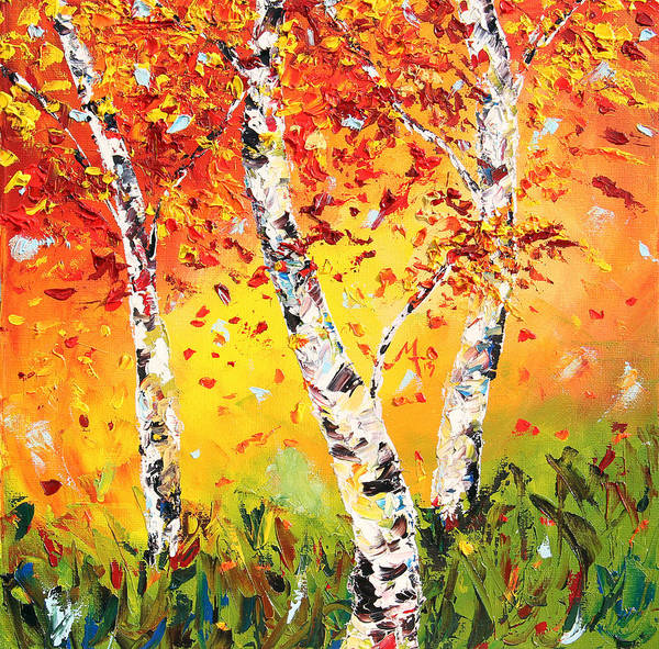 Birches Painting - The Change by Meaghan Troup