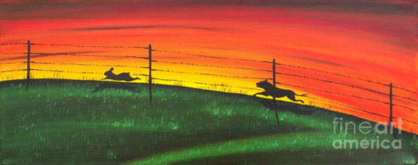 Rabit Painting - The Chase by Kenneth Clarke