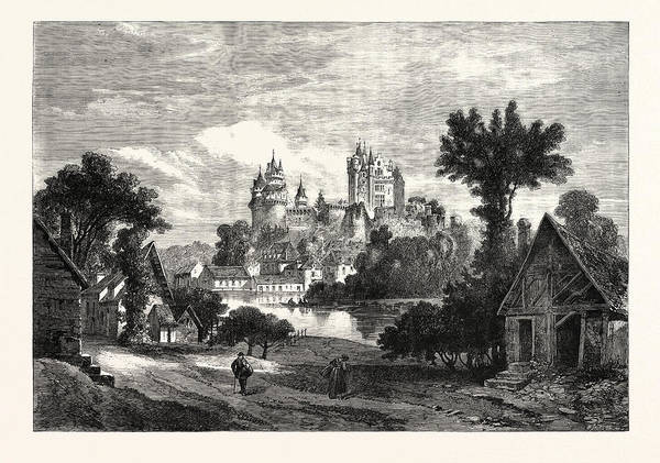 Chateau Drawing - The Chateau De Pierrefonds, Department Of The Oise by French School