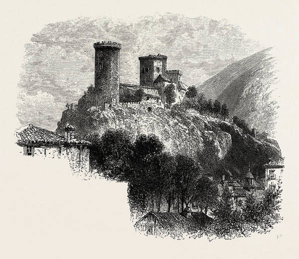 Chateau Drawing - The Chateau Of Foix, The Pyrenees, France by French School