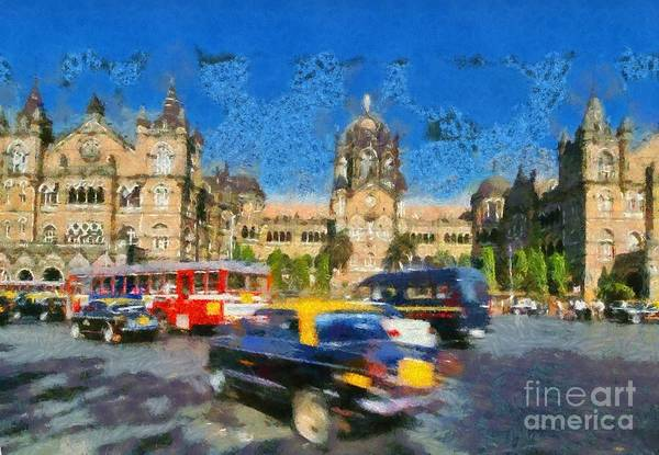 Mumbai Painting - The Chatrapathi Station In Mumbai by George Atsametakis