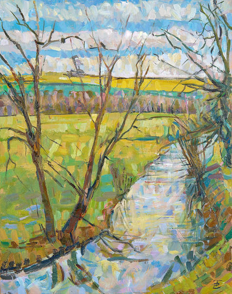 English Countryside Photograph - The Cherwell From Rousham II Oil On Canvas by Erin Townsend