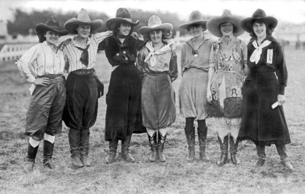Ethnicity Photograph - The Cheyenne Rodeo Roundup Cowgirls by Underwood Archives