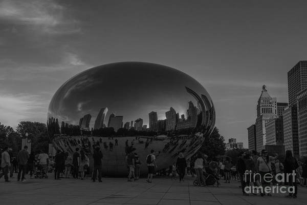 Photograph - The Chicago Bean Black And White by David Haskett II