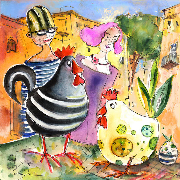 Painting - The Chicken From Taormina by Miki De Goodaboom