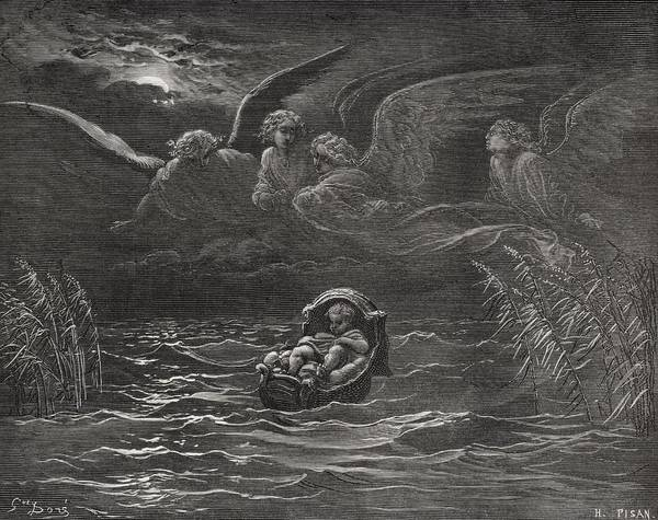 Bulrush Wall Art - Painting - The Child Moses On The Nile by Gustave Dore