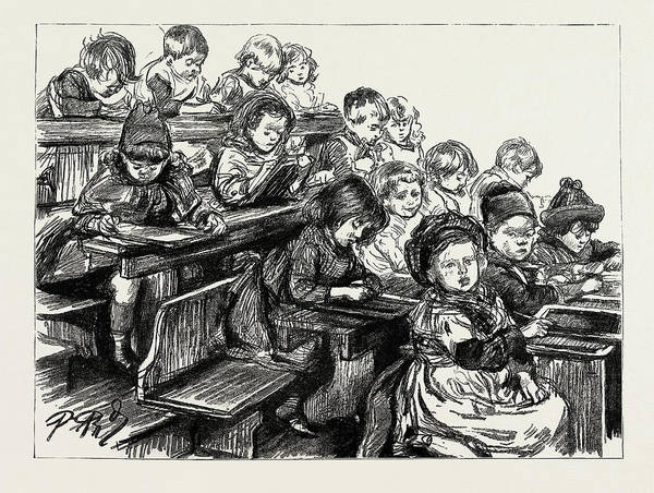 Wall Art - Drawing - The Children At Work After Dinner, Board School Children by Litz Collection