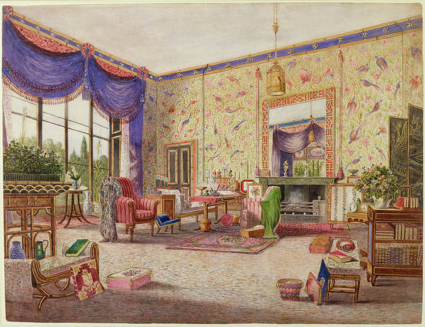 Drapes Painting - The Chinese Drawing Room, Middleton by William Alfred Delamotte