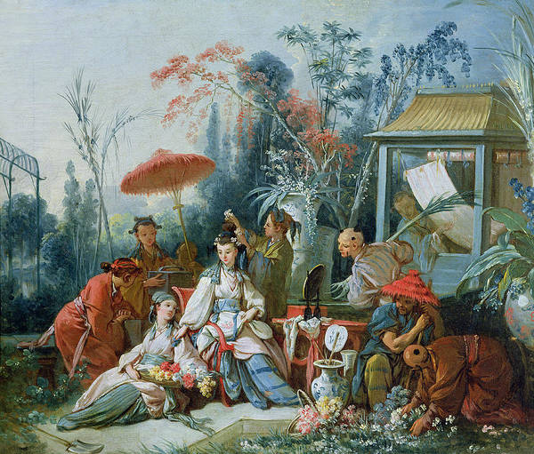 Jardin Photograph - The Chinese Garden, C.1742 Oil On Canvas by Francois Boucher