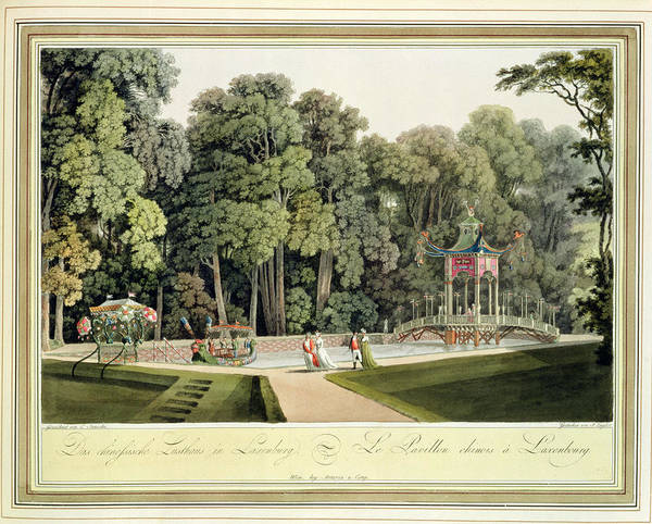 Austrian Drawing - The Chinese Pavilion In The Laxenburg by Laurenz Janscha