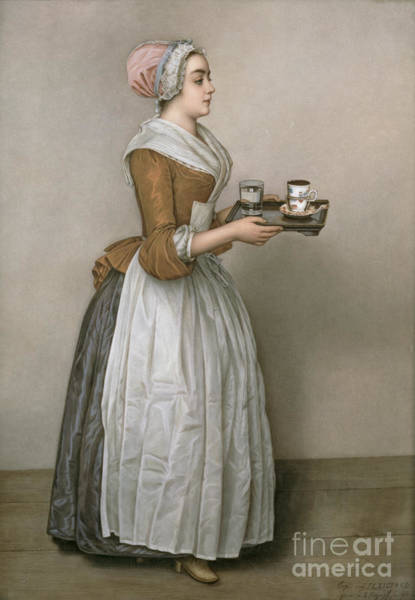 Cup Wall Art - Painting - The Chocolate Girl by Jean-Etienne Liotard