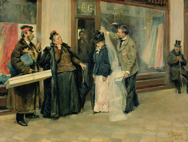 Street Scenes Photograph - The Choice Of Wedding Presents, 1897-98 Oil On Canvas by Vladimir Egorovic Makovsky