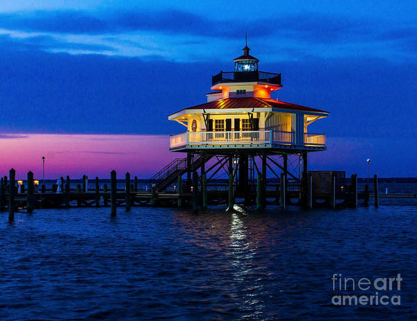 Photograph - The Choptank River Lighthouse At Night by Nick Zelinsky