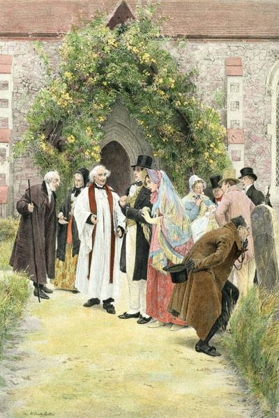 Church Yard Painting - The Christening by Walter Dendy Sadler