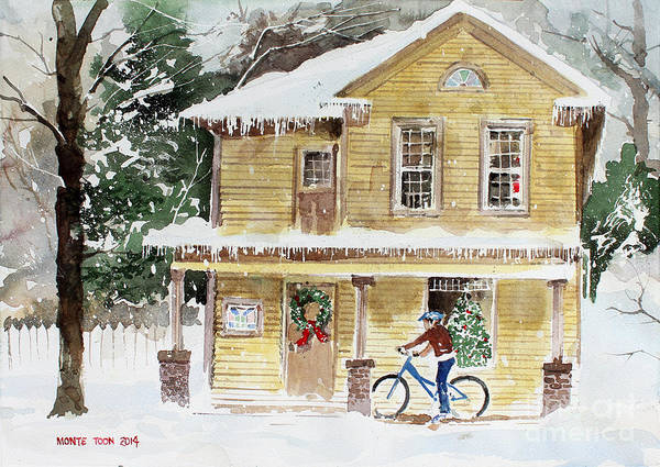 Painting - The Christmas Bike by Monte Toon