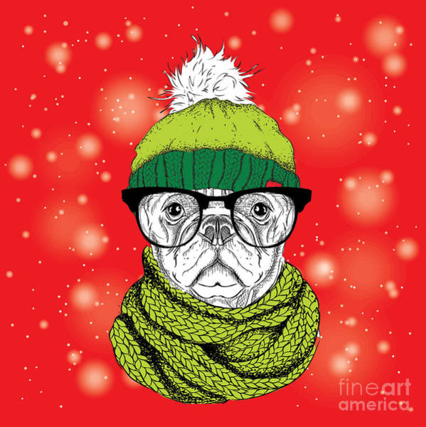 Clothing Wall Art - Digital Art - The Christmas Poster With The Image Dog by Sunny Whale