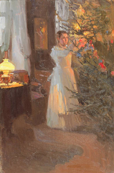 Trimming Painting - The Christmas Tree by Alexei Mikhailovich Korin