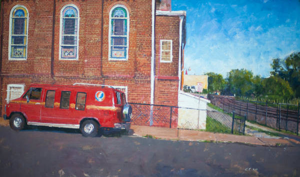 Wall Art - Painting - The Church And The Van by Edward Thomas