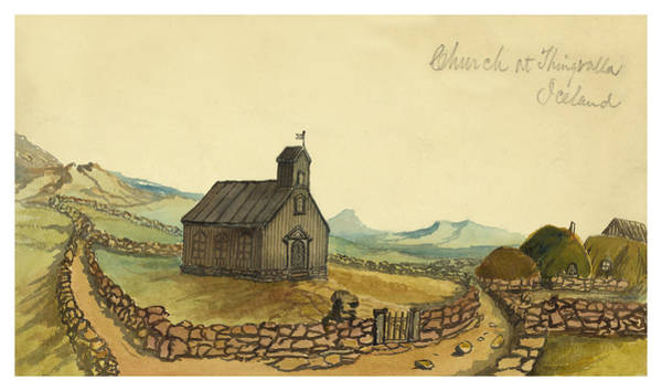 Settlers Painting - The Church At Thingvalla Iceland Circa 1862 by Aged Pixel