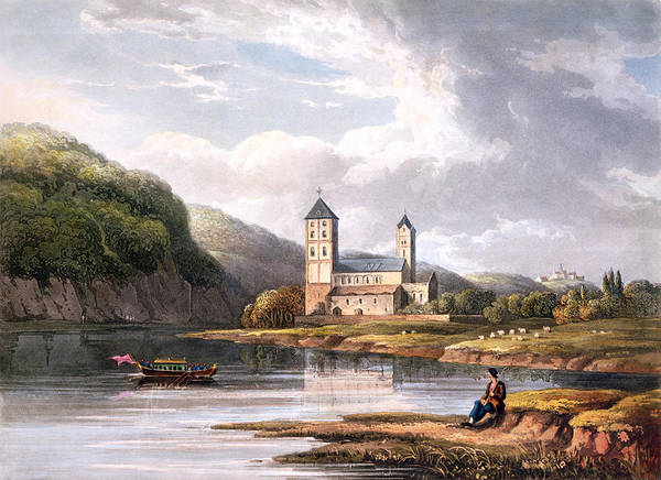 Riverbank Drawing - The Church Of Johannes At The Influx by Christian Georg II Schutz or Schuz