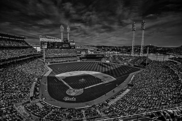 Photograph - The Cincinnati Reds Black And White by David Haskett II