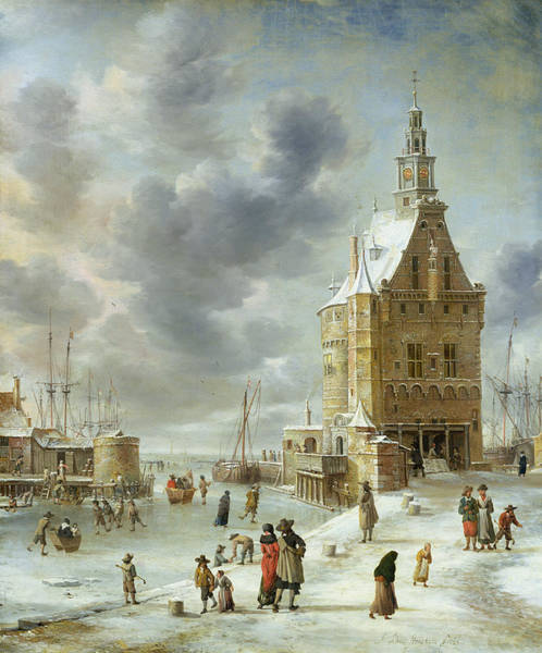 Skating Painting - The City Gate Of Hoorn  by Jan Abrahamsz Beerstraten