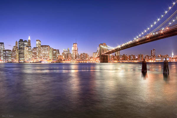 Photograph - The City Lights Of Manhattan - Brooklyn Bridge by Mark E Tisdale