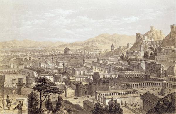 Ancient Drawing - The City Of Ephesus From Mount Coressus by Edward Falkener