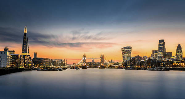Wall Art - Photograph - The City Of London In Sunset Scene by Tangman Photography