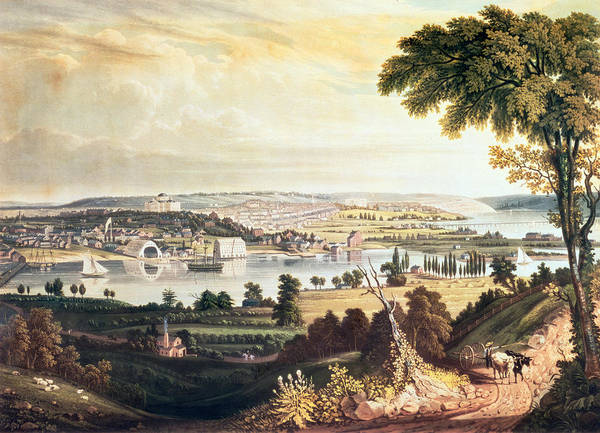 Potomac River Photograph - The City Of Washington From Beyond The Navy Yard, Engraved By William James Bennett, C.1824 Aquatint by George Cooke