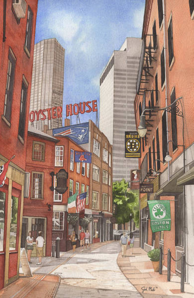 Street Scape Painting - The City On A Hill by Josh Marks