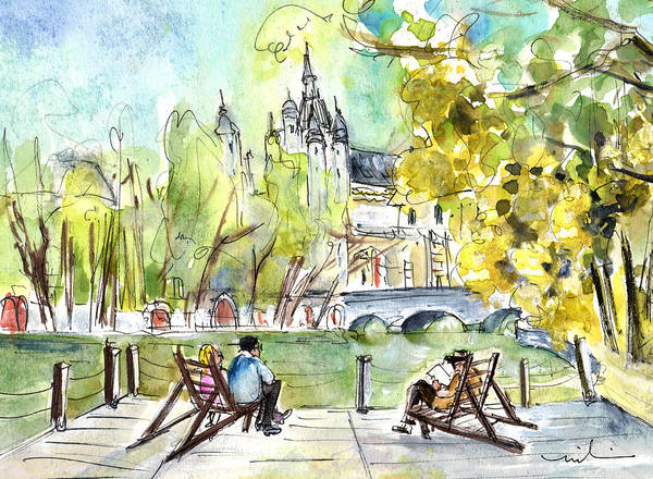 Painting - The City Park In Budapest 01 by Miki De Goodaboom