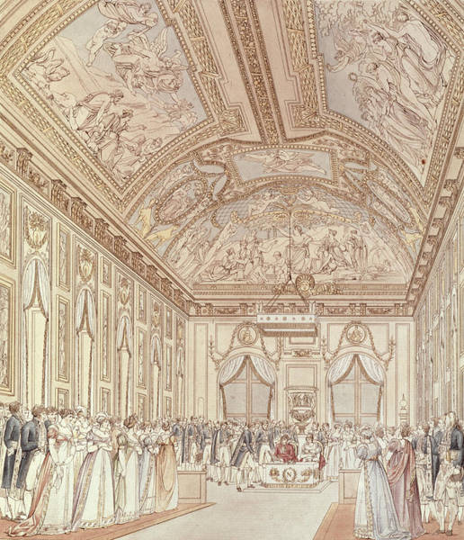 Decorative Drawing - The Civil Ceremony Of The Marriage Of Napoleon Bonaparte 1769-1821 And Marie-louise 1791-1847 by C Percier