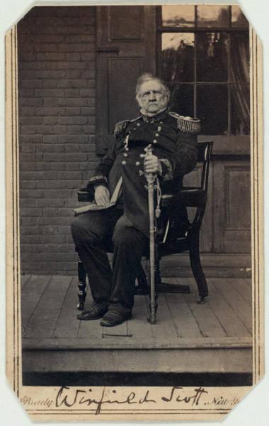 Mathew Photograph - The Civil War. General Winfield Scott by Everett